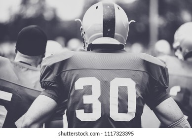 Toned image of an American Football player in action
