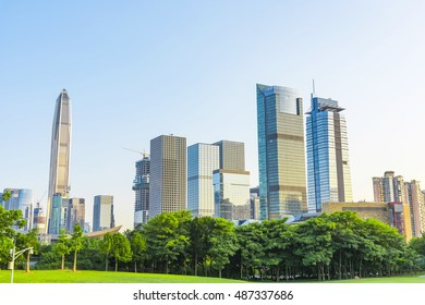 Toned image of modern office buildings