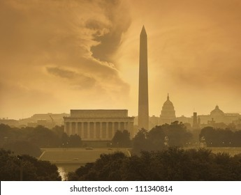 Toned image of the Washington DC skyline with menacing clouds