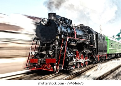 Toned. Old black and red steam locomotive with motion blur. Old photo effect applied.