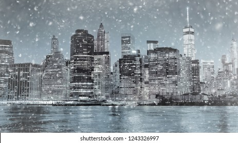 Toned photo New York City Manhattan downtown skyline at winter night with illuminated skyscrapers