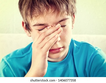 Toned Photo of Sad Teenager Portrait closeup