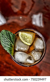 Toned picture. alcohol, Rum, ice, coctail, Top view, closeup