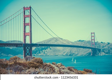 Toned Vintage Image of Golden Gate Bridge in San Francisco, California, USA.