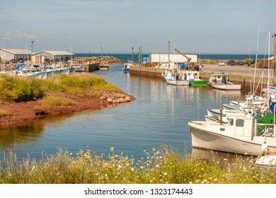 Toney River harbor marina near Pictou on the coastline of Nova Scotia, Canada