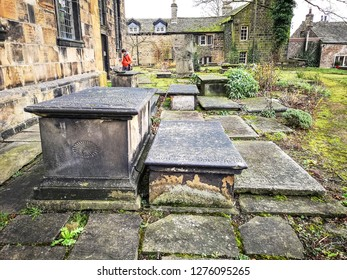 TONG VILLAGE - JANUARY 1, 2019: Graveyard of St James Church, the only identifiable pre-Conquest church in West Yorkshire.Tong Village is a village in the City of Bradford metropolitan district.