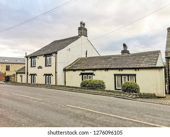 TONG VILLAGE - JANUARY 1, 2019: Old houses.Tong Village is a village in the City of Bradford metropolitan district.