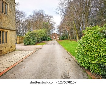 TONG VILLAGE - JANUARY 1, 2019: Drive to Tong Hall. Tong Village is a village in the City of Bradford metropolitan district.