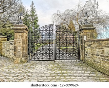 TONG VILLAGE - JANUARY 1, 2019: Gates to the Manor House.Tong Village is a village in the City of Bradford metropolitan district.