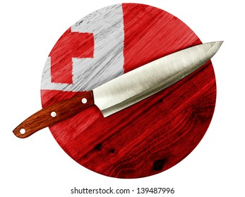 Tonga flag  painted on wooden board with knife