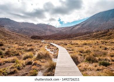 Tongariro Alpine Crossing, New Zealand - 12 14 2017 – Scenic hiking trail through Tongariro National Park, volcanic landscape and rough nature, Ruapehu
