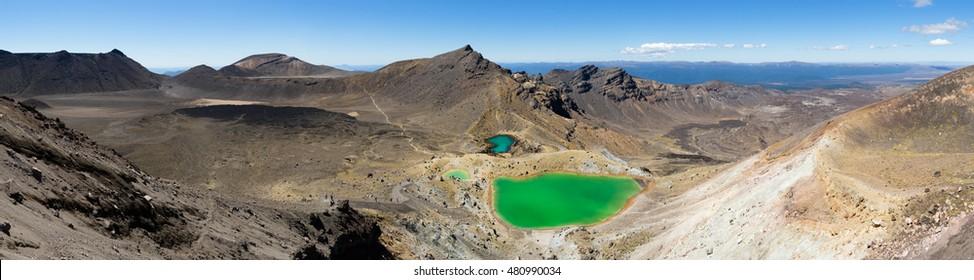 The Tongariro Crossing crosses 19 kilometers across the barren, volcanic, desert of New Zealand's north island.