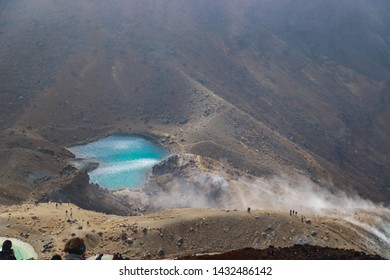 Tongariro National Park, NEW ZEALAND -18 MAR 2019:View of the blue lake on the top of tongariro alpine crossing in North island of New zealand