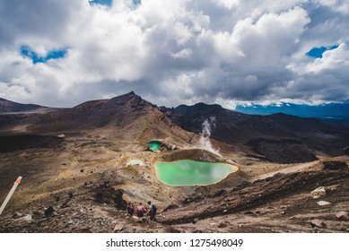 Tongariro, New Zealand - November, 28, 2017: View of the Emerald lakes from the top of Tongariro Alpine Crossing