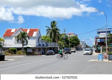 TONGATAPU, TONGA - NOVEMBER 18: Street in Nuku'alofa on November 18, 2013 on Tongatapu island, Tonga. Nuku�»alofa is the capital of the Kingdom of Tonga