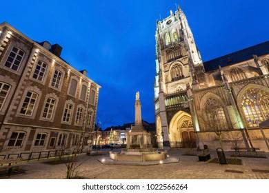 Tongeren Basilica at night. Tongeren, Wallonia, Belgium.