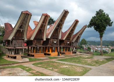 Tongkonan houses, traditional Torajan buildings, Tana Toraja, Sulawesi,  is the traditional ancestral house, or rumah adat of the Torajan people, in South Sulawesi, Indonesia. Tongkonan have a disting