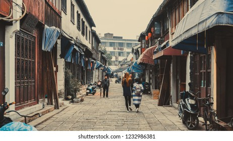 Tongli, China - November 10, 2016: The narrow streets of the old town of Tongli