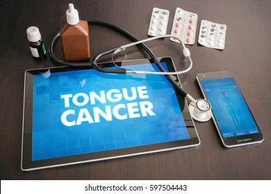 Tongue cancer (cancer type) diagnosis medical concept on tablet screen with stethoscope.