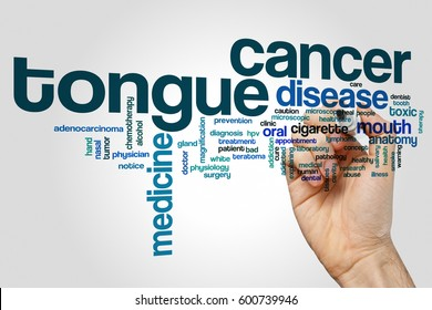 Tongue cancer word cloud concept on grey background