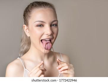 Tongue Cleaner Scraper Hygiene Blond Female