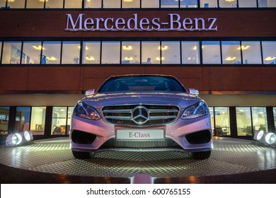 TONGWELL, MILTON KEYNES, ENGLAND - MARCH 8, 2017: Mercedes E Class on display at Mercedes-Benz Head Office in UK.The Mercedes-Benz E-Class is a range of executive cars manufactured by German automaker
