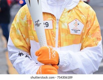 Tongyeong, South Korea - November 13, 2017. Olympic Flame for 2018  PyeongChang Winter Olympics