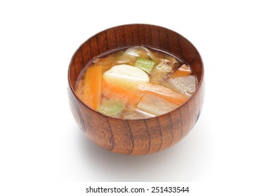 Tonjiru-Miso soup with pork and vegetables
