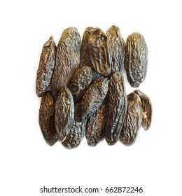 Tonka beans in square composition