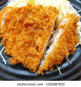 Tonkatsu, Japanese deep fried pork cutlet.Breaded pork.