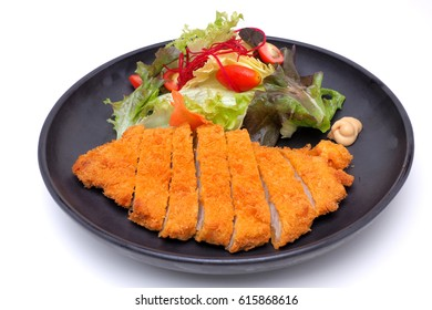 Tonkatsu , Japanese Pork Cutlet isolated on white background with clipping path
