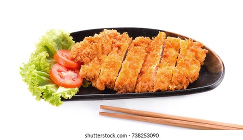 Tonkatsu or pork fried isolated on white background.