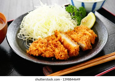 Tonkatsu.Japanese food.Breaded pork cutlet.  Pork loin cutlet.