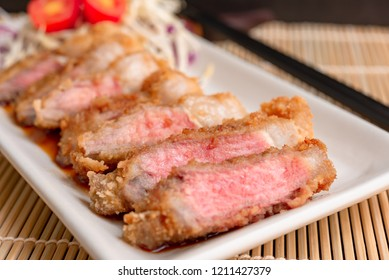 Tonkatsu,Japanese style Pork Cutlet,Close up  medium rare cook.