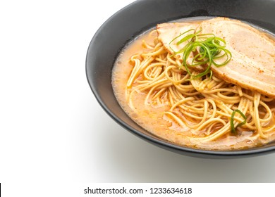 tonkotsu ramen noodles with chaashu pork isolated on white background