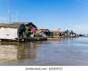 Tonle Sap, Cambodia - Circa January 2017 - the floating villages of tonle sap