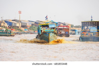 TONLE SAP, CAMBODIA - Feb. 15, 2016: Unidentified people on a bo