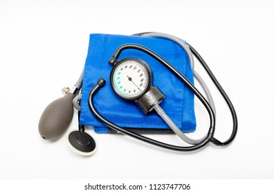 Tonometer device  for diagnosis to measure of blood pressure and pulse, health and self-image of a monometer on a white background