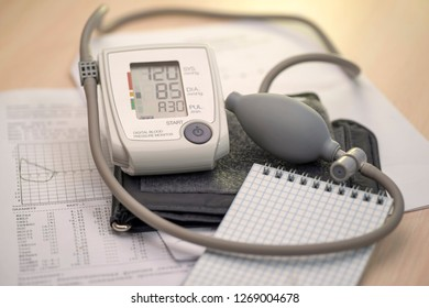 Tonometer and notepad on the background of medical graphs and diagnoses, place for text