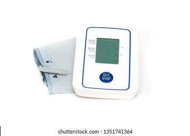 Tonometer on a white background. Measurement of blood pressure by an electronic tonometer.