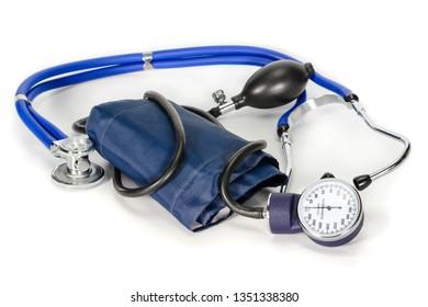 Tonometer or sphygmomanometer with phonendoscope isolated on white bbackground, lue tonometer for measure of blood pressure.