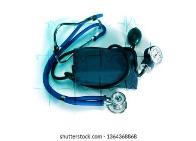 Tonometer or sphygmomanometer with phonendoscope isolated on white bbackground, lue tonometer for measure of blood pressure on cardiogram background.