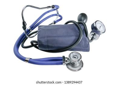Tonometer or sphygmomanometer with phonendoscope isolated on white bbackground, Blue tonometer for measure of blood pressure.