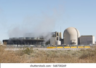 Tonopah, Arizona, USA - January 27, 2017: Steam rising from the Palo Verde Nuclear Generating Station. The Palo Verde Nuclear Power Plant is the largest power plant in the USA by net generation.