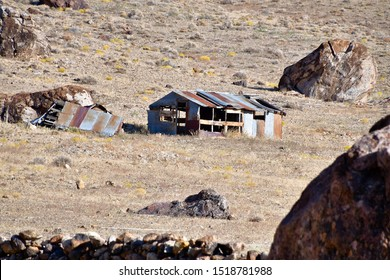 Tonopah, Nevada / USA: Circa September 2019 Old, abandoned ranch standing empty and deserted.