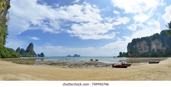 Tonsai beach at low tide, between Ao Nang beach and Railay beach in the Andaman Sea, Krabi province, Thailand