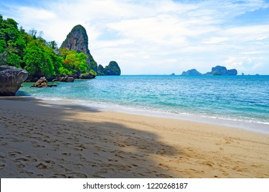 The Tonsai beach near Ao Nang with the Railay boulder and Koh Poda in the background