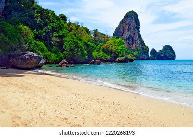The Tonsai beach near Ao Nang with the Railay boulder in the background