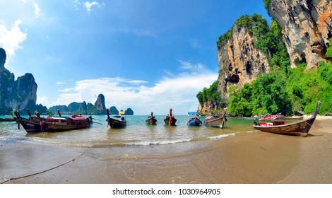 Tonsai, Krabi province, Thailand - April 24, 2017. Wide angle view of the Tonsai bay, between Ao Nang and Railay