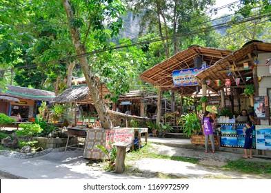 Tonsai, Krabi province, Thailand - April 24, 2017. Hyppie style wood and bamboo bars at Tonsai village, between Ao Nang and Railay.